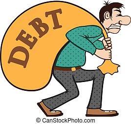 deuda, presión, /, cargamaento, lucha