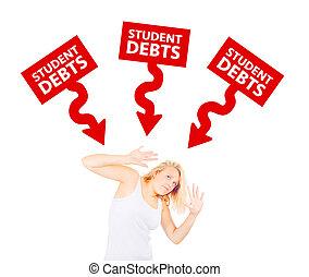deudas, concepto, estudiante