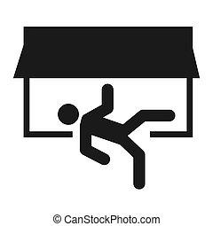 deur, afslaf, ontsnapping, pictogram, teken., veiligheid, helpen, vector, rennende , man, symbool., evacuatie
