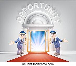 deur, gelegenheid, rood tapijt