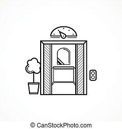 deur, geopend, lift, vector, black , lijn, pictogram