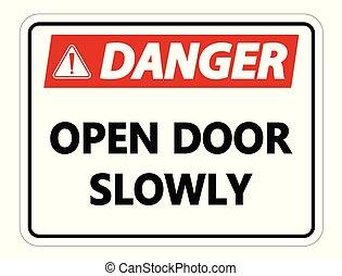 deur, gevaar, muur, meldingsbord, langzaam, achtergrond, witte , open