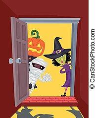 deur, halloween, open, karakters