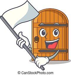 deur, houten, ouderwetse , vlag, spotprent, mascotte