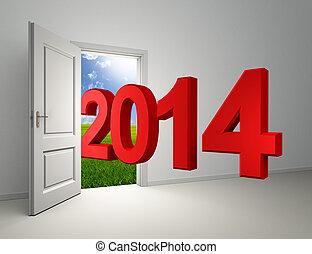 deur, jaar, nieuw, binnengaan, 2014, open