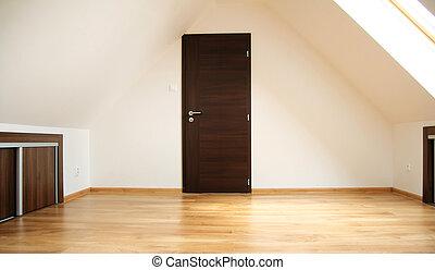 deur, kamer, lege, zolder