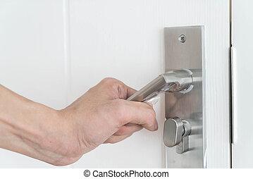 deur, moderne, handvat