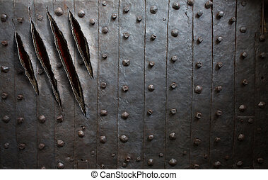 deur, monster, muur, metaal, achtergrond, krassen, klauw, of