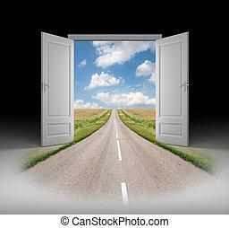 deur, om te, een, nieuw, realiteit