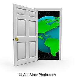 deur, om te, een, wereld, van, kansen