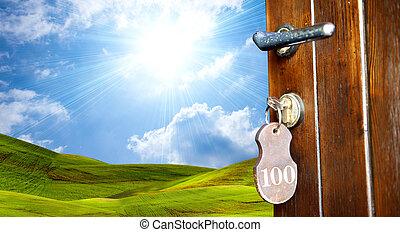 deur, om te, groene, wereld