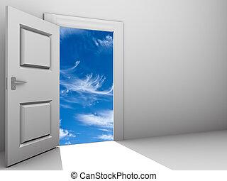 deur open, voor, een, hemel