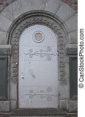 deur, patrijspoort, nautisch, venster, metaal