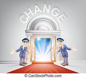 deur, rood, veranderen, tapijt