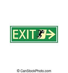 deur, symbool, meldingsbord, afslaf, uitvoeren, vector