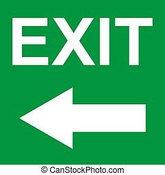 deur, symbool., meldingsbord, arrow., vector, pictogram, veiligheid, helpen, evacuatie, ontsnapping, afslaf