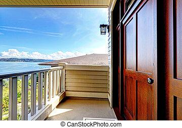 deur, water, hout, luxe, voorkant, overzicht.