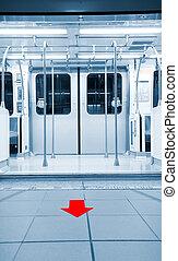 deuren, geopend, in, metro station, met, richtingwijzer