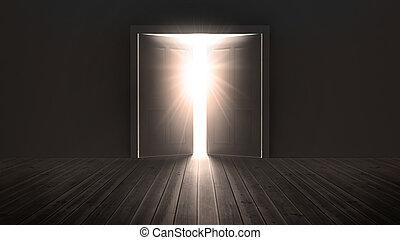 deuren opening, om te tonen, een, helder licht