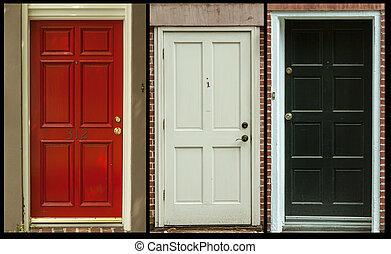 deuren, set, van, drie