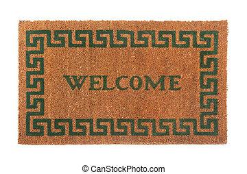 deurmat, foto, welkom, vrijstaand, achtergrond, witte