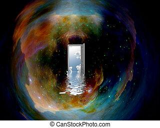 deuropening, om te, een ander, wereld