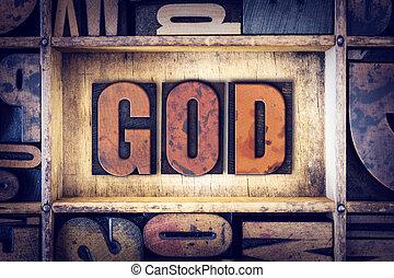 deus, conceito, tipo, letterpress