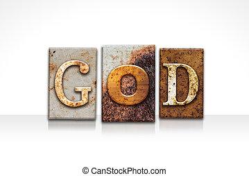 deus, letterpress, conceito, isolado, branco