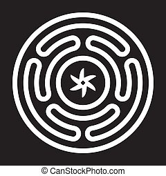 deusa, emblema, hecates, grego, antiga, roda