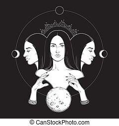 deusa, lunar, hecate