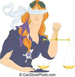 deusa, themis, illustration., justiça, justice., femida,...