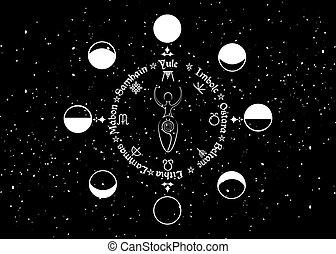 deusa, wiccan, vetorial, isolado, fundo, ordem, lua, feriados, espiral, fertilidade, estrelado, mulher preta, sinal, réplica, fases, céu, roda, wicca, ano