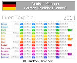 deutsch, 2014, kalender, planer