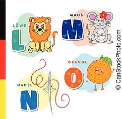 Deutsch alphabet. Lion, mouse, stylus, orange. Vector...