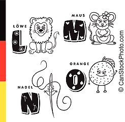 Deutsch alphabet. Lion, mouse, stylus, orange. Vector...