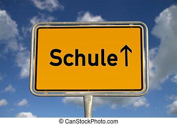 deutsch, schule, straße zeichen