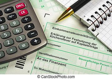 deutsch, steuerformular, mit, taschenrechner