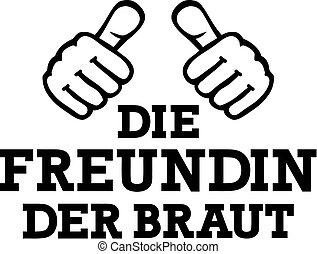 deutsch, -, zwei, braut, daumen, freund
