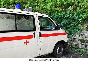 deutsches auto, krankenwagen, retro, fragment