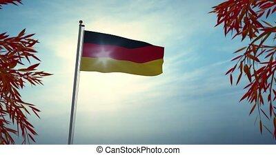 deutschland, banner, vertritt, deutsch, video, fahne,...