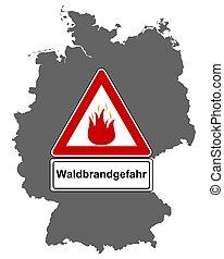 deutschland, feuer, landkarte, verkehrszeichen, wald
