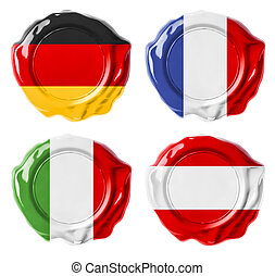 deutschland, frankreich, italien, österreich, nationales kennzeichen, wachs, dichtungen, satz, freigestellt, weiß