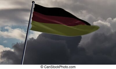 deutschland,  Hq, belebt, Fahne,  doomy