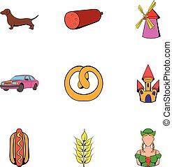 Deutschland icons set, cartoon style