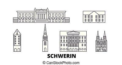 deutschland, schwerin, linie, reise, skyline, set.,...