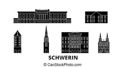 deutschland, schwerin, wohnung, reise, skyline, set.,...