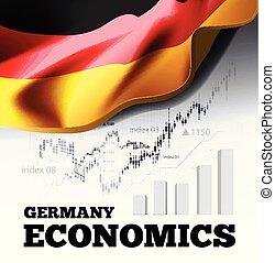 deutschland, volkswirtschaft, vektor, abbildung, mit, deutschlandflagge, und, geschaeftswelt, tabelle, balkendiagramm, bestand, zahlen, hausse, uptrend, linie diagramm, symbolisiert, der, wachstum