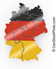 deutschlandkarte, in, deutschlandflagge, farben
