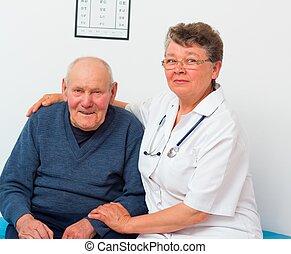 deux âges, patient, personnes agées, docteur