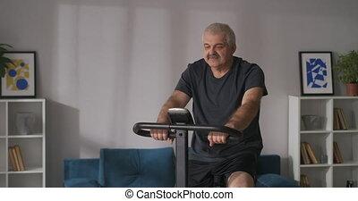 deux âges, stationnaire, appartement, formation, homme, portrait, bonne condition, garder, vélo, physique, maison